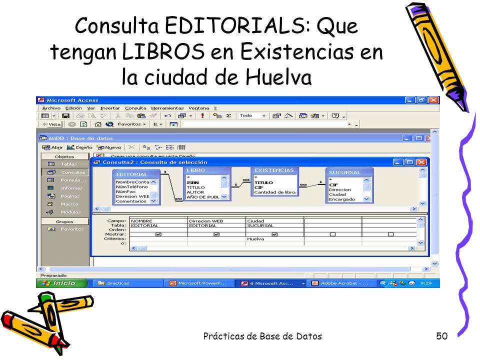 Prácticas de Base de Datos50 Consulta EDITORIALS: Que tengan LIBROS en Existencias en la ciudad de Huelva