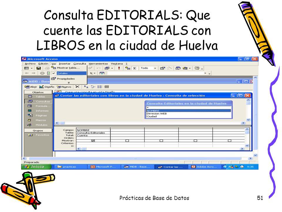 Prácticas de Base de Datos51 Consulta EDITORIALS: Que cuente las EDITORIALS con LIBROS en la ciudad de Huelva