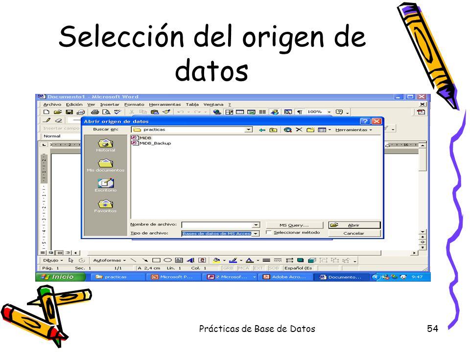 Prácticas de Base de Datos54 Selección del origen de datos