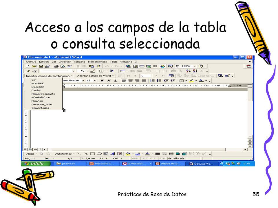 Prácticas de Base de Datos55 Acceso a los campos de la tabla o consulta seleccionada