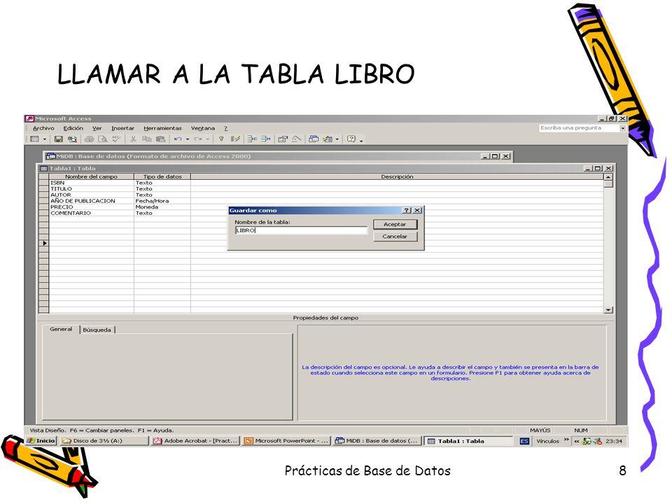Prácticas de Base de Datos8 LLAMAR A LA TABLA LIBRO