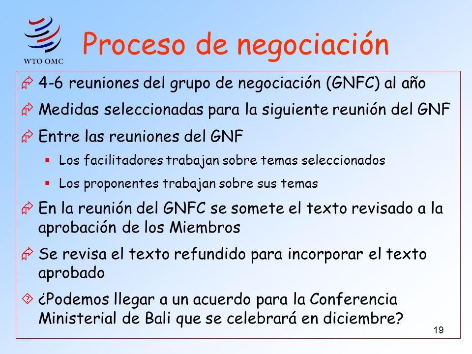 19 Proceso de negociación 4-6 reuniones del grupo de negociación (GNFC) al año Medidas seleccionadas para la siguiente reunión del GNF Entre las reuni