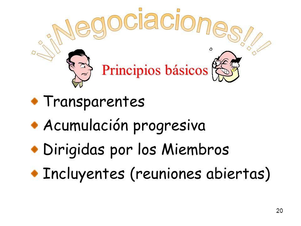 20 Transparentes Acumulación progresiva Dirigidas por los Miembros Incluyentes (reuniones abiertas) Principios básicos