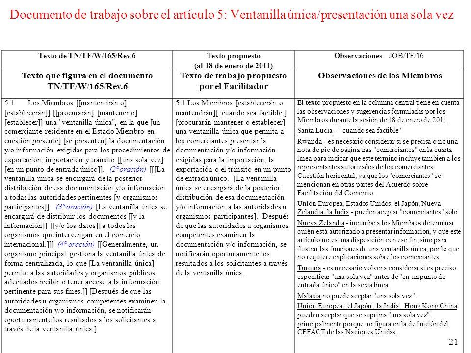 Documento de trabajo sobre el artículo 5: Ventanilla única/presentación una sola vez Texto de TN/TF/W/165/Rev.6Texto propuesto (al 18 de enero de 2011