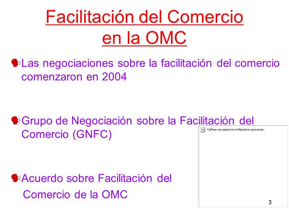 3 Facilitación del Comercio en la OMC Las negociaciones sobre la facilitación del comercio comenzaron en 2004 Grupo de Negociación sobre la Facilitaci
