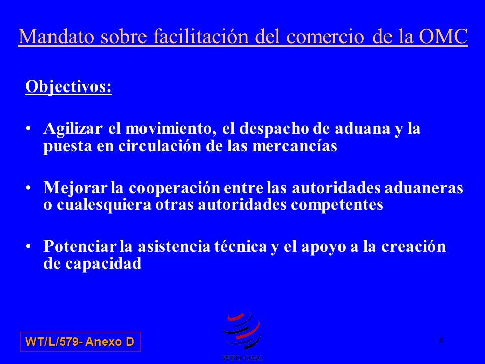 Objectivos: Agilizar el movimiento, el despacho de aduana y la puesta en circulación de las mercancías Mejorar la cooperación entre las autoridades ad