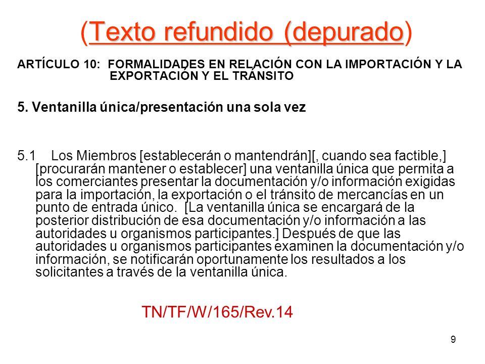 9 Texto refundido (depurado (Texto refundido (depurado) ARTÍCULO 10: FORMALIDADES EN RELACIÓN CON LA IMPORTACIÓN Y LA EXPORTACIÓN Y EL TRÁNSITO 5. Ven
