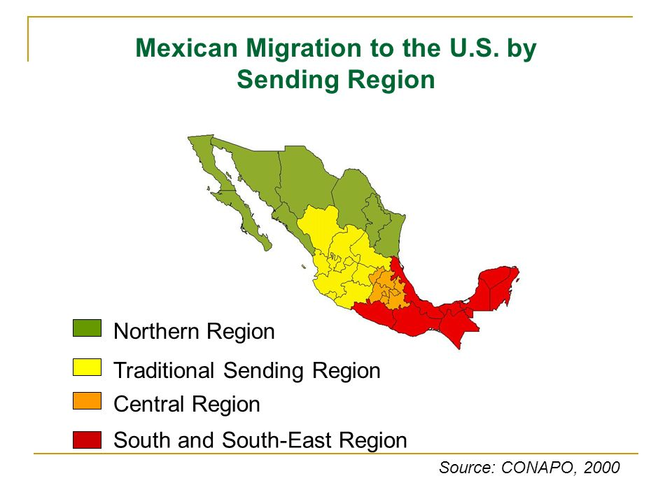 Northern Region Traditional Sending Region Central Region South and South-East Region Mexican Migration to the U.S. by Sending Region Source: CONAPO,