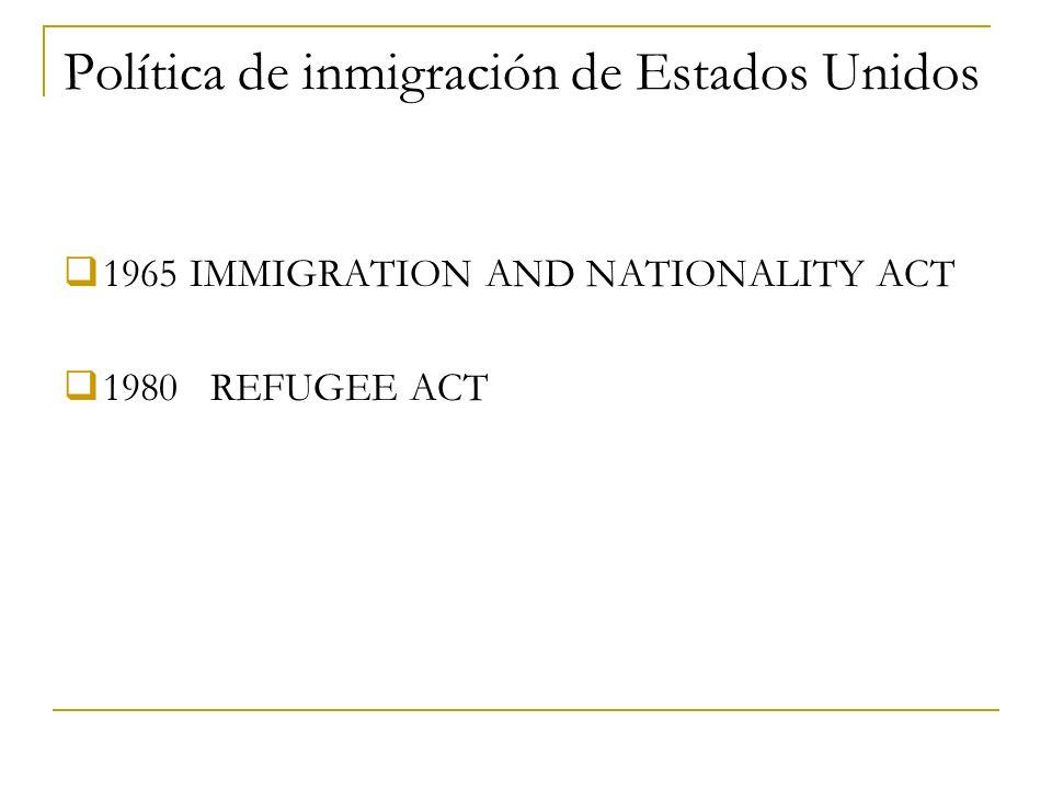 Política de inmigración de Estados Unidos 1965 IMMIGRATION AND NATIONALITY ACT 1980 REFUGEE ACT