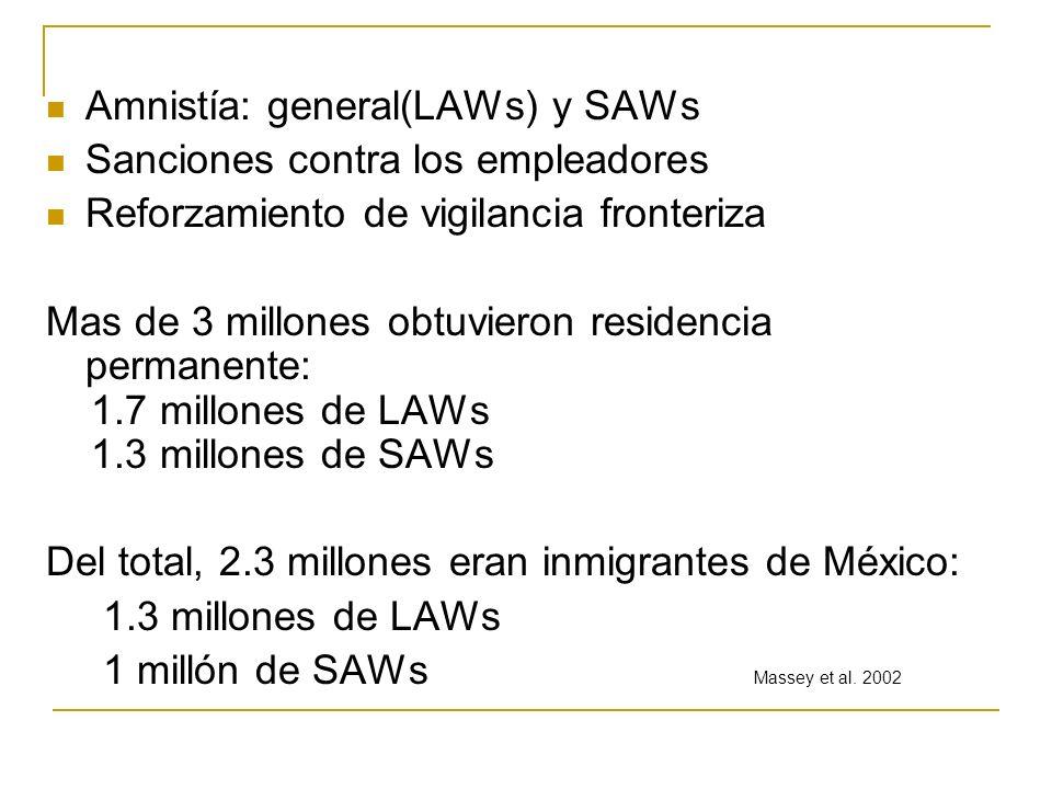 Amnistía: general(LAWs) y SAWs Sanciones contra los empleadores Reforzamiento de vigilancia fronteriza Mas de 3 millones obtuvieron residencia permane