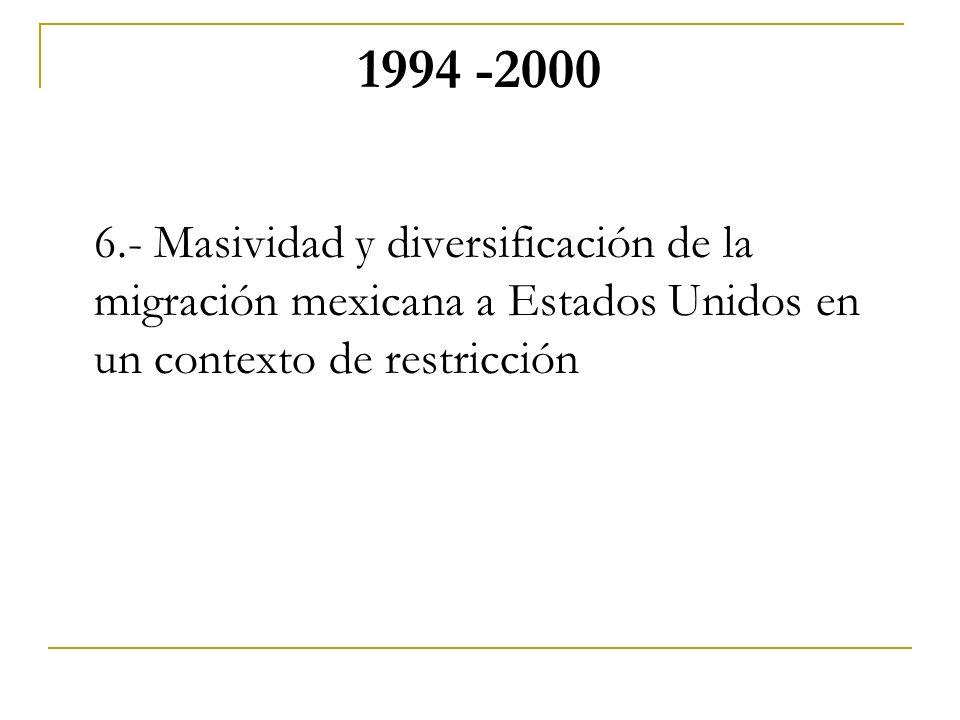 1994 -2000 6.- Masividad y diversificación de la migración mexicana a Estados Unidos en un contexto de restricción