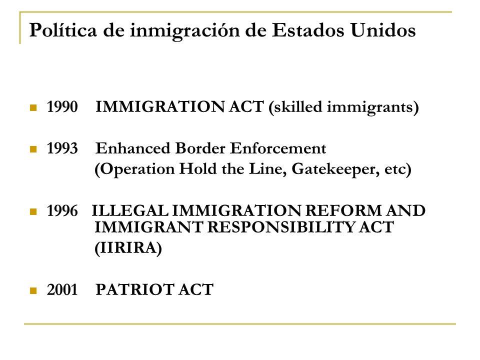 Política de inmigración de Estados Unidos 1990 IMMIGRATION ACT (skilled immigrants) 1993 Enhanced Border Enforcement (Operation Hold the Line, Gatekee