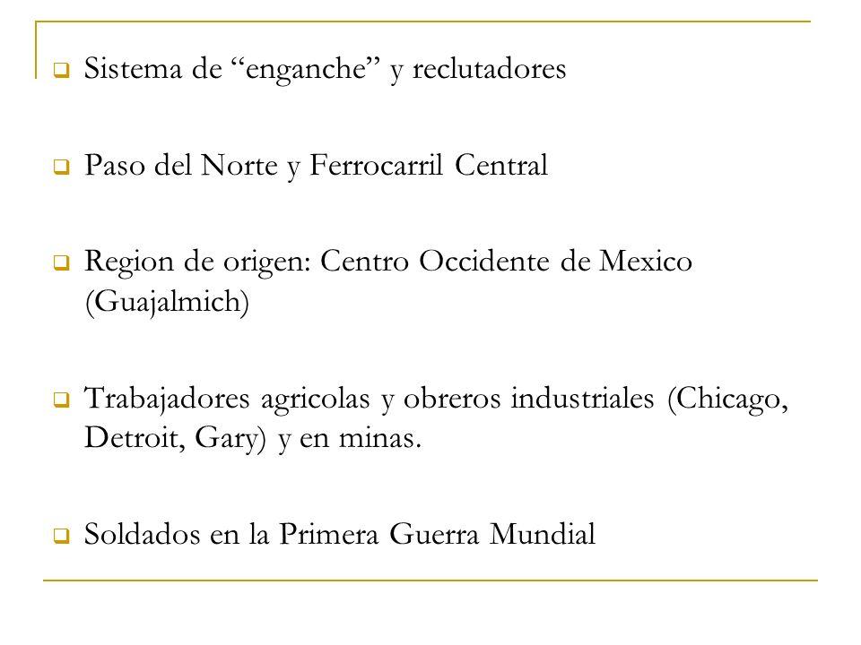 Sistema de enganche y reclutadores Paso del Norte y Ferrocarril Central Region de origen: Centro Occidente de Mexico (Guajalmich) Trabajadores agricol