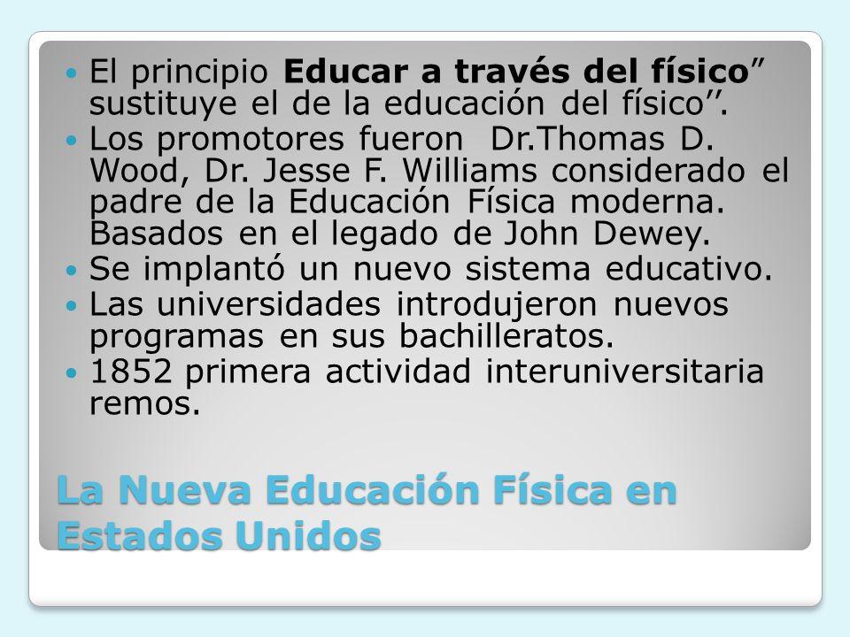 La Nueva Educación Física en Estados Unidos El principio Educar a través del físico sustituye el de la educación del físico. Los promotores fueron Dr.