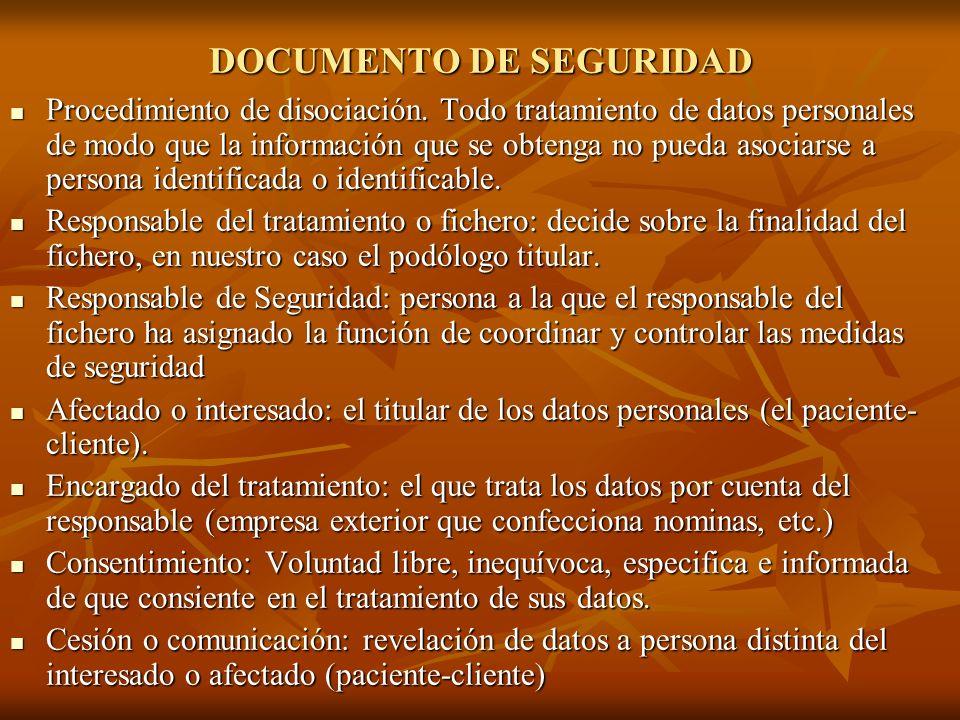 DOCUMENTO DE SEGURIDAD Procedimiento de disociación. Todo tratamiento de datos personales de modo que la información que se obtenga no pueda asociarse