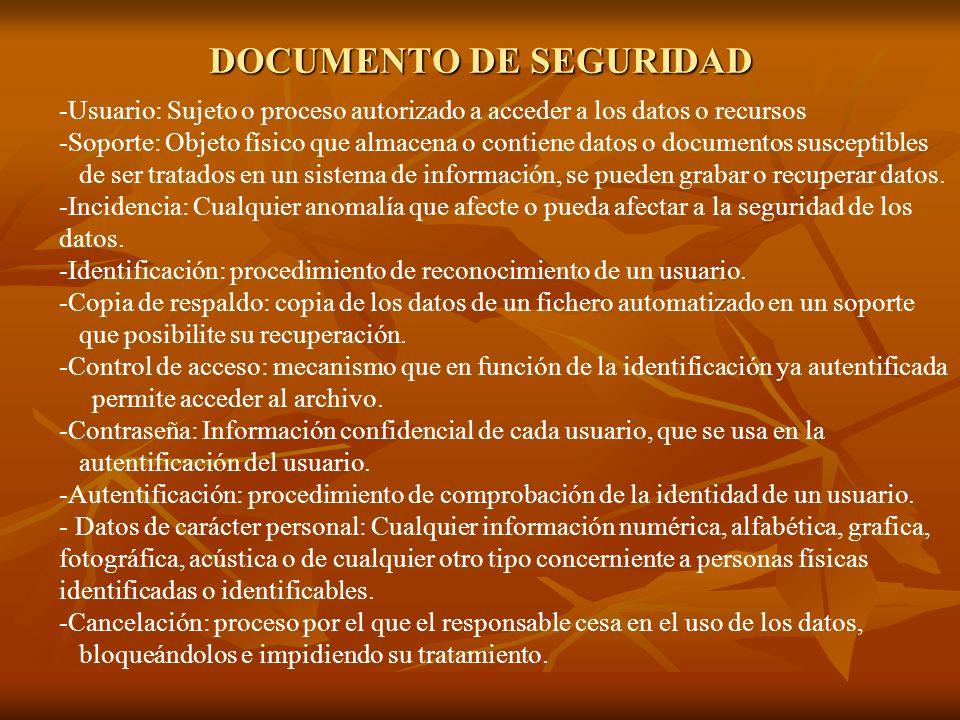DOCUMENTO DE SEGURIDAD -Usuario: Sujeto o proceso autorizado a acceder a los datos o recursos -Soporte: Objeto físico que almacena o contiene datos o