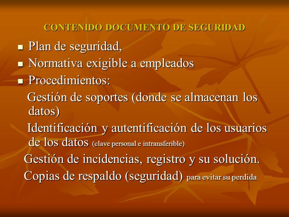 CONTENIDO DOCUMENTO DE SEGURIDAD Plan de seguridad, Plan de seguridad, Normativa exigible a empleados Normativa exigible a empleados Procedimientos: P