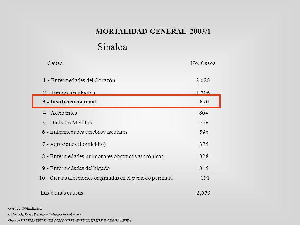 MORTALIDAD GENERAL 2003/1 Causa No. Casos 1.- Enfermedades del Corazón 2,020 2.- Tumores malignos 1,706 4.- Accidentes 804 Las demás causas 2,659 Por
