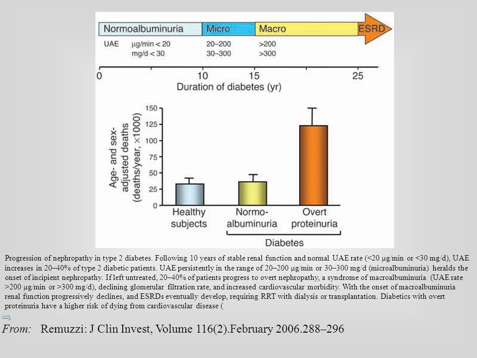 Progression of nephropathy in type 2 diabetes. Following 10 years of stable renal function and normal UAE rate ( 200 µg/min or >300 mg/d), declining g