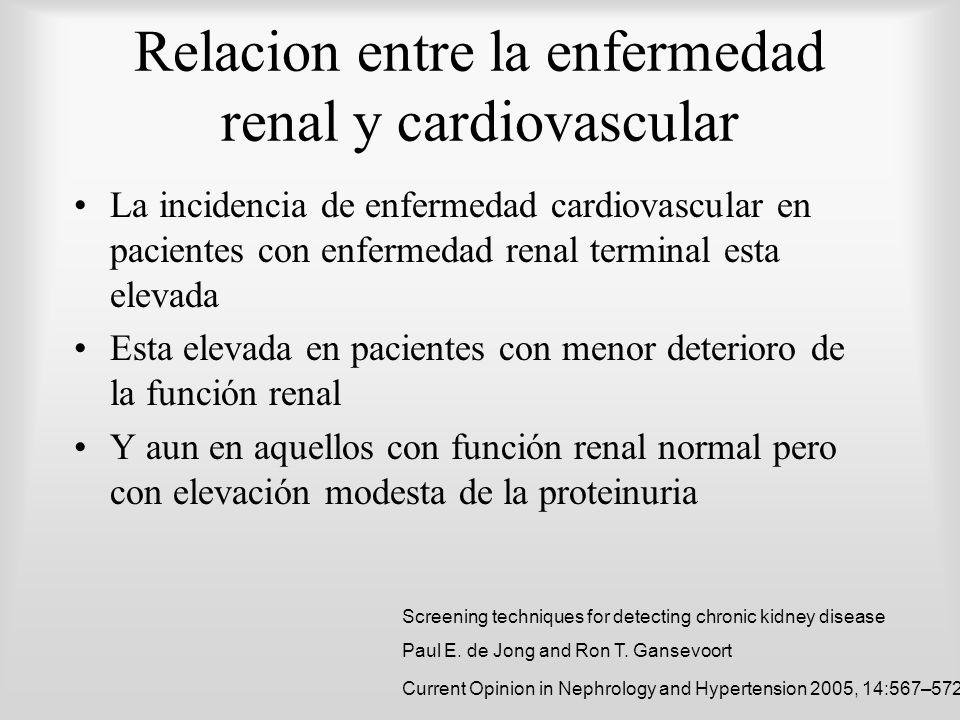 Relacion entre la enfermedad renal y cardiovascular La incidencia de enfermedad cardiovascular en pacientes con enfermedad renal terminal esta elevada