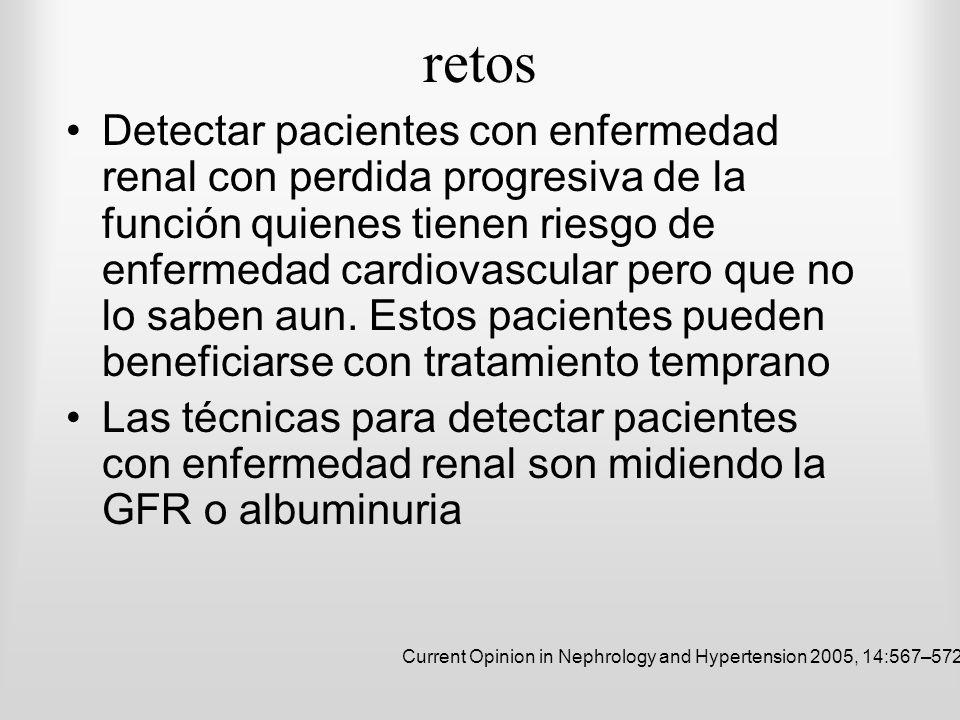 retos Detectar pacientes con enfermedad renal con perdida progresiva de la función quienes tienen riesgo de enfermedad cardiovascular pero que no lo s
