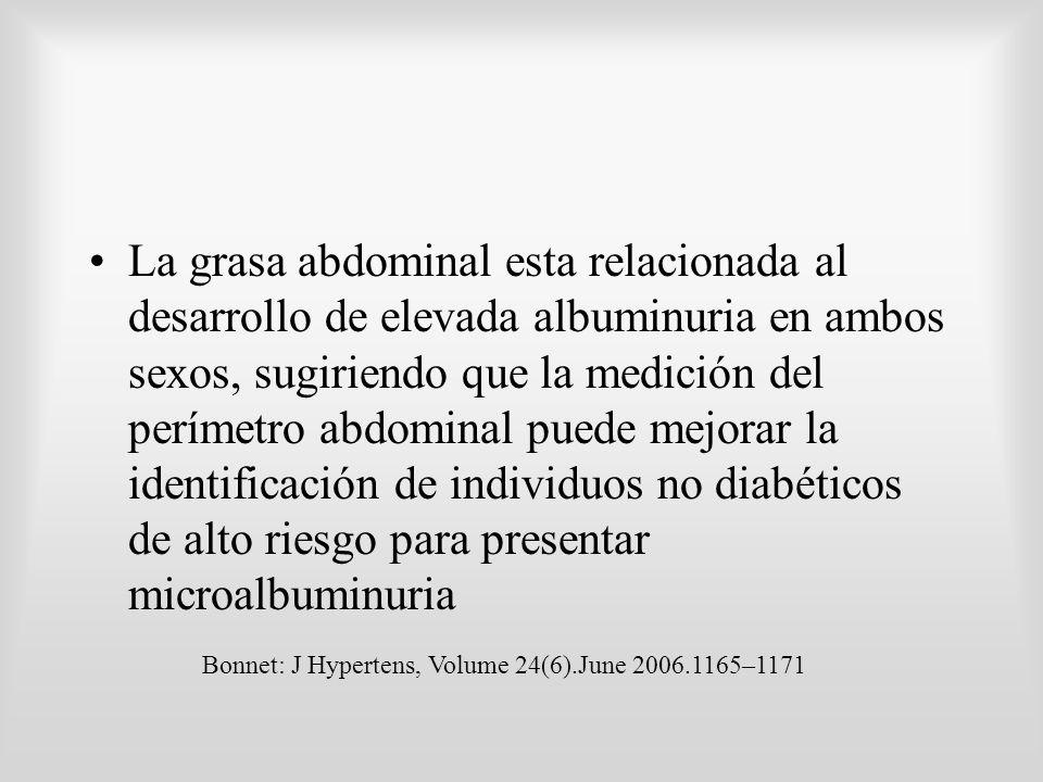 La grasa abdominal esta relacionada al desarrollo de elevada albuminuria en ambos sexos, sugiriendo que la medición del perímetro abdominal puede mejo