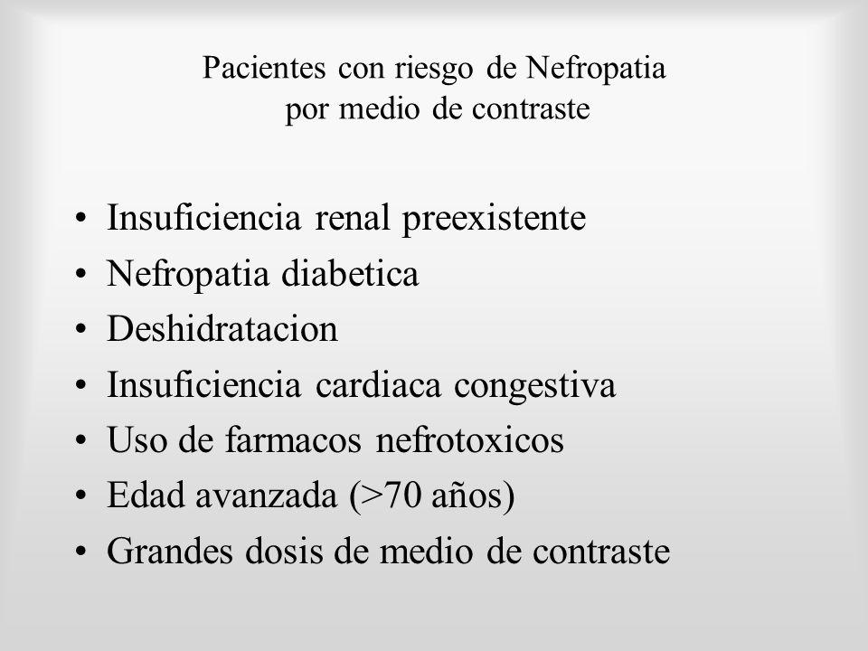 Pacientes con riesgo de Nefropatia por medio de contraste Insuficiencia renal preexistente Nefropatia diabetica Deshidratacion Insuficiencia cardiaca