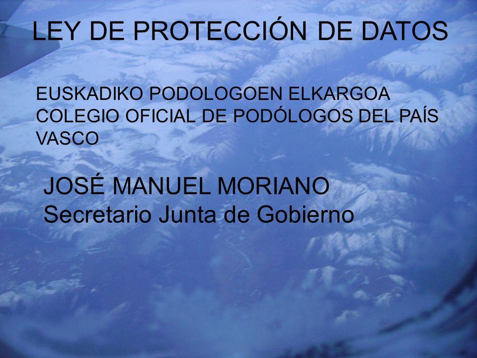 EUSKADIKO PODOLOGOEN ELKARGOA COLEGIO OFICIAL DE PODÓLOGOS DEL PAÍS VASCO LEY DE PROTECCION DE DATOS DE CARACTER PERSONAL La ley reconoce, protege y garantiza el derecho de los ciudadanos al honor y a la intimidad en lo referente a sus datos personales como un derecho fundamental propio.