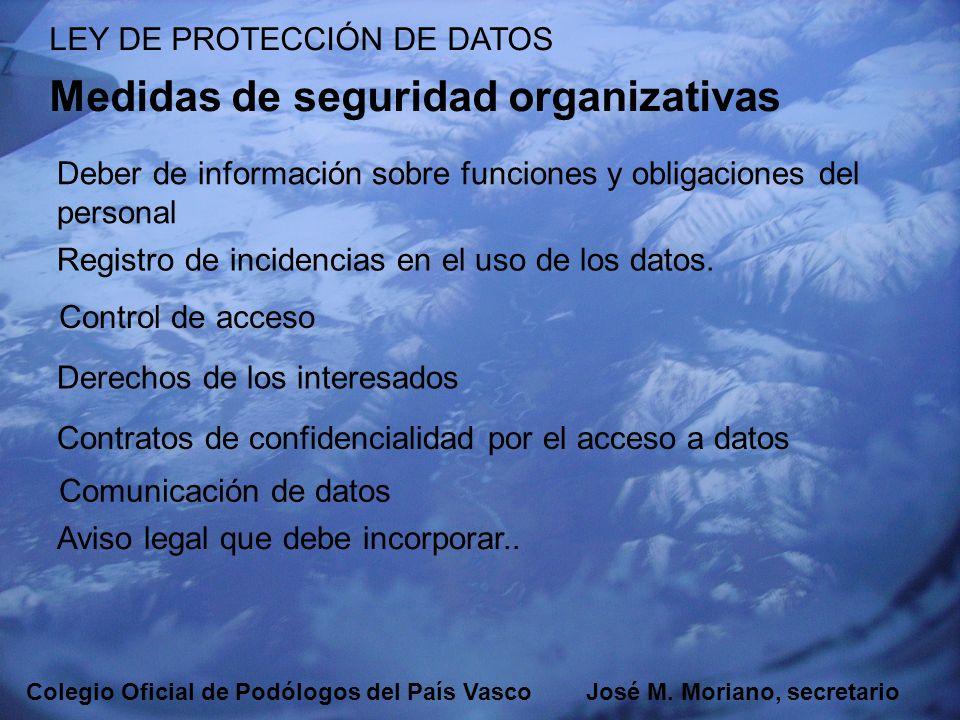 EUSKADIKO PODOLOGOEN ELKARGOA COLEGIO OFICIAL DE PODÓLOGOS DEL PAÍS VASCO LEY DE PROTECCIÓN DE DATOS Medidas de seguridad organizativas Deber de infor