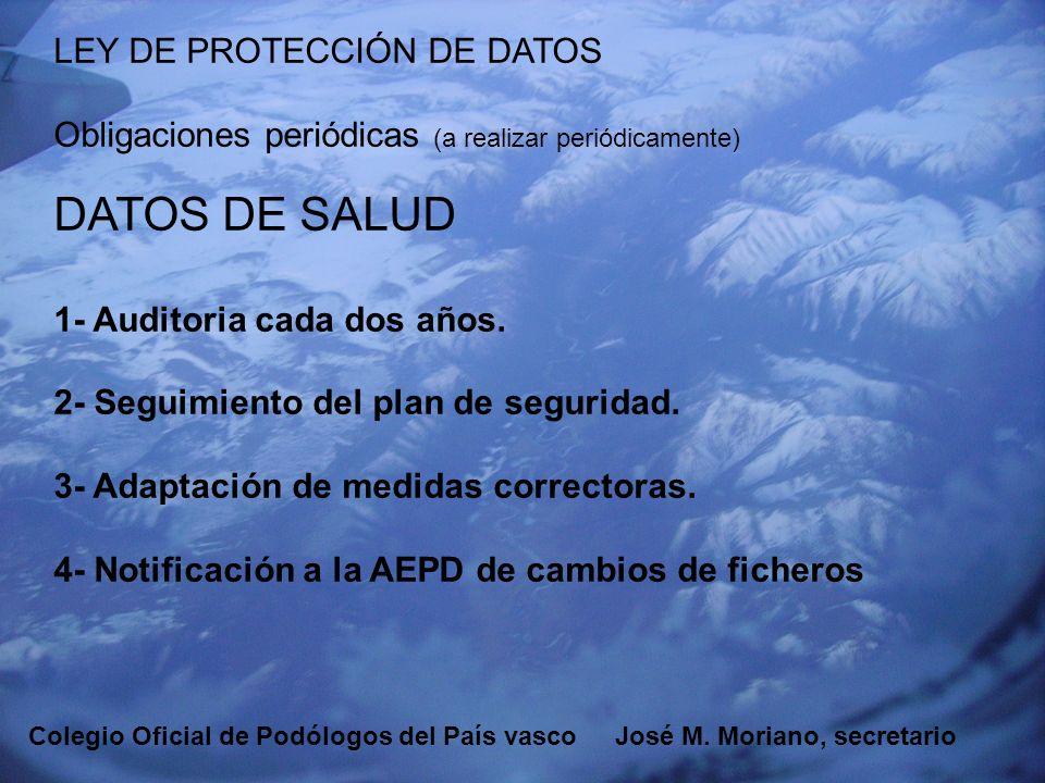 EUSKADIKO PODOLOGOEN ELKARGOA COLEGIO OFICIAL DE PODÓLOGOS DEL PAÍS VASCO LEY DE PROTECCIÓN DE DATOS Obligaciones periódicas (a realizar periódicament