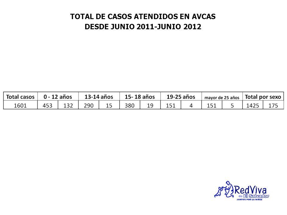 TOTAL DE CASOS ATENDIDOS EN AVCAS DESDE JUNIO 2011-JUNIO 2012