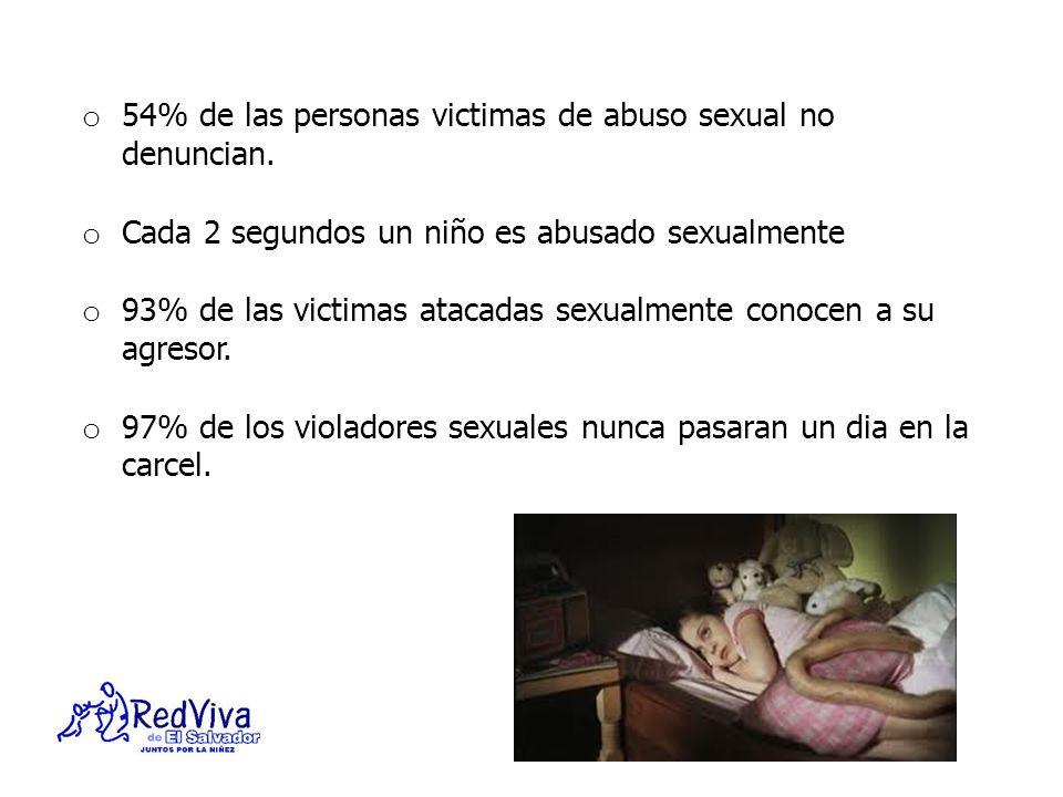 o 54% de las personas victimas de abuso sexual no denuncian. o Cada 2 segundos un niño es abusado sexualmente o 93% de las victimas atacadas sexualmen