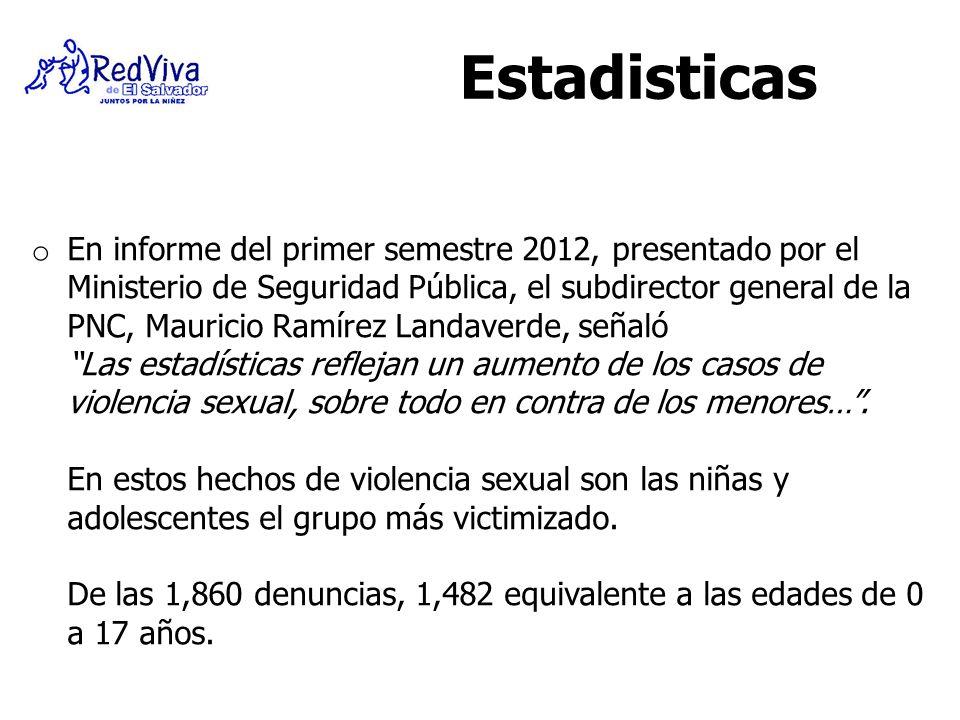 o En informe del primer semestre 2012, presentado por el Ministerio de Seguridad Pública, el subdirector general de la PNC, Mauricio Ramírez Landaverd