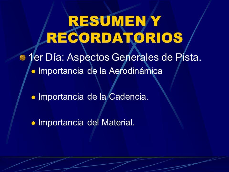 RESUMEN Y RECORDATORIOS 1er Día: Aspectos Generales de Pista.