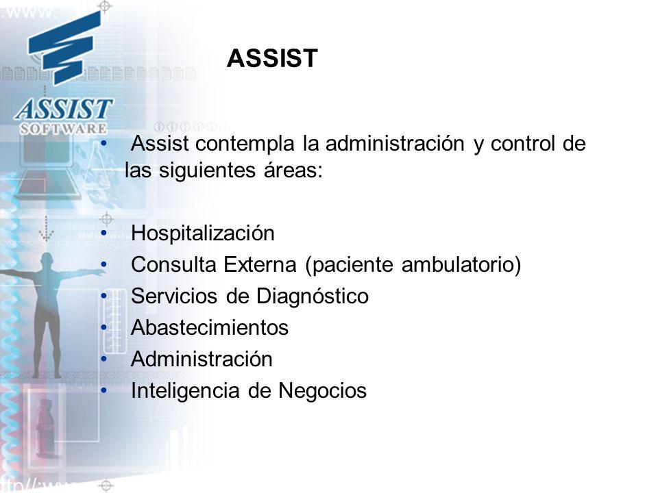 ASSIST Assist contempla la administración y control de las siguientes áreas: Hospitalización Consulta Externa (paciente ambulatorio) Servicios de Diag