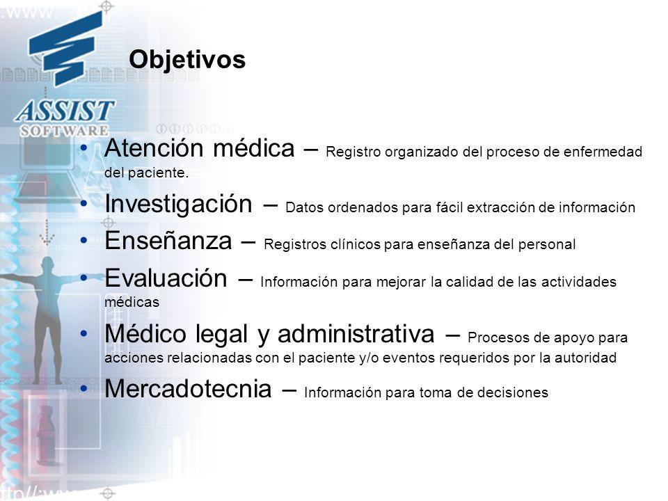 Objetivos Atención médica – Registro organizado del proceso de enfermedad del paciente. Investigación – Datos ordenados para fácil extracción de infor