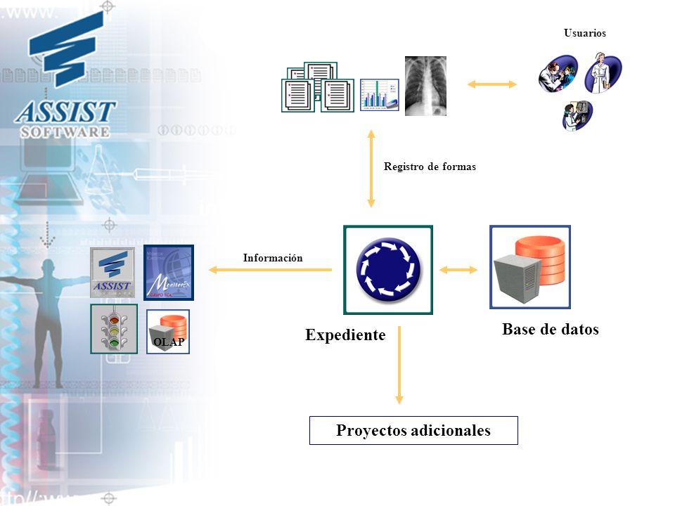 Base de datos Expediente Registro de formas Proyectos adicionales OLAP Información Usuarios