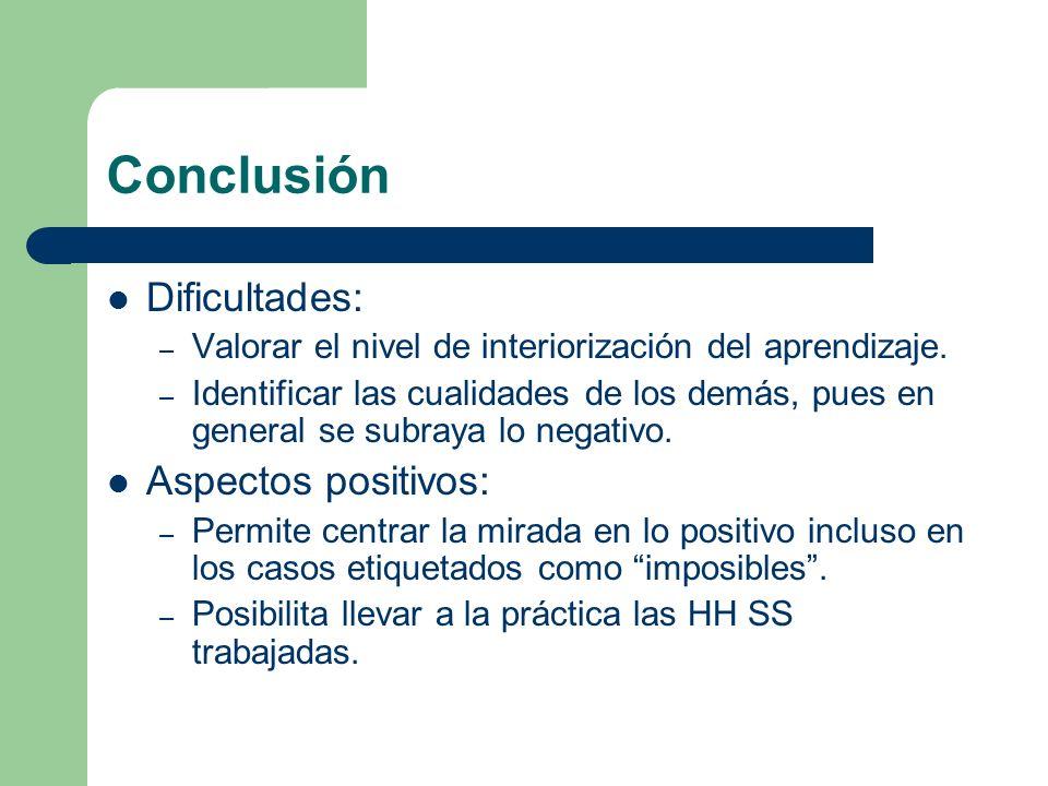 Conclusión Dificultades: – Valorar el nivel de interiorización del aprendizaje. – Identificar las cualidades de los demás, pues en general se subraya
