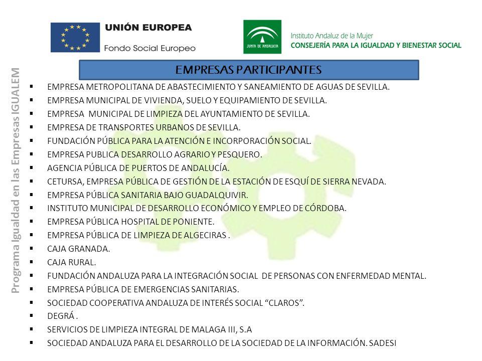 Programa Igualdad en las Empresas IGUALEM EMPRESAS PARTICIPANTES EMPRESA METROPOLITANA DE ABASTECIMIENTO Y SANEAMIENTO DE AGUAS DE SEVILLA. EMPRESA MU