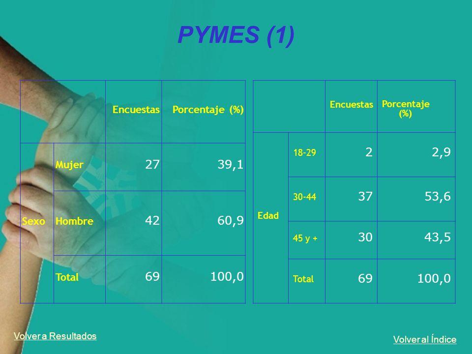 Volver al Índice PYMES (1) EncuestasPorcentaje (%) Sexo Mujer 2739,1 Hombre 4260,9 Total 69100,0 Volver a Resultados Encuestas Porcentaje (%) Edad 18-