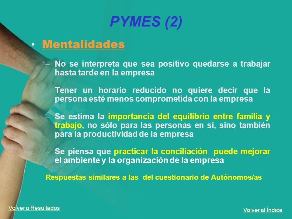 Volver al Índice PYMES (2) Mentalidades – No se interpreta que sea positivo quedarse a trabajar hasta tarde en la empresa – Tener un horario reducido