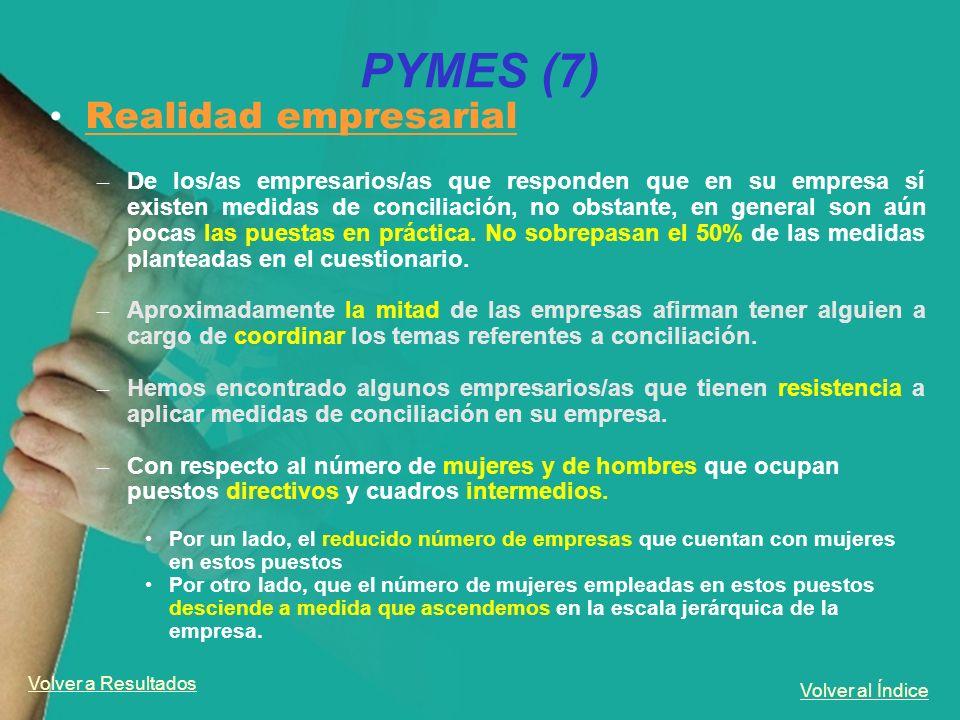 Volver al Índice PYMES (7) Realidad empresarial – De los/as empresarios/as que responden que en su empresa sí existen medidas de conciliación, no obst