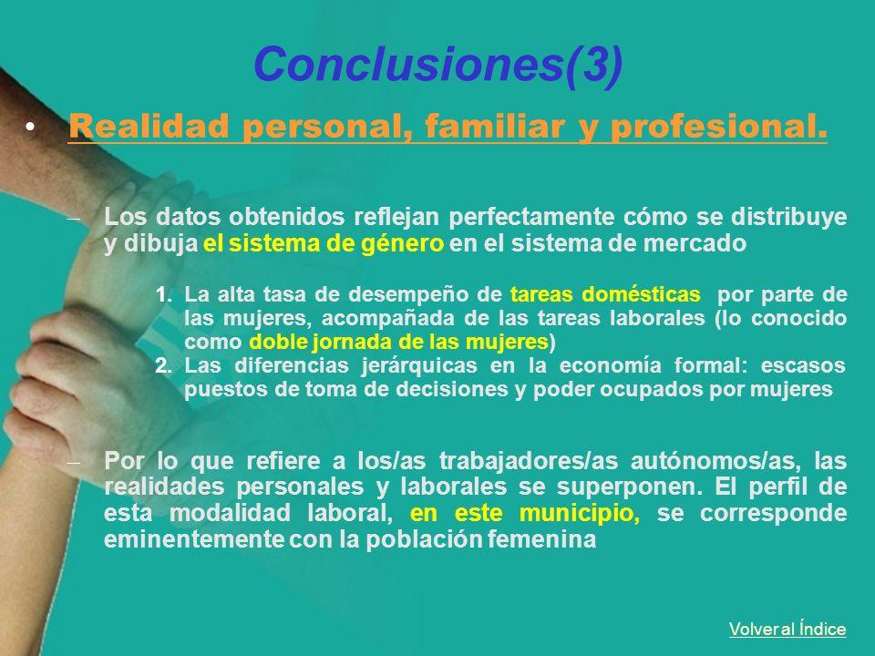 Volver al Índice Conclusiones(3) Realidad personal, familiar y profesional. – Los datos obtenidos reflejan perfectamente cómo se distribuye y dibuja e