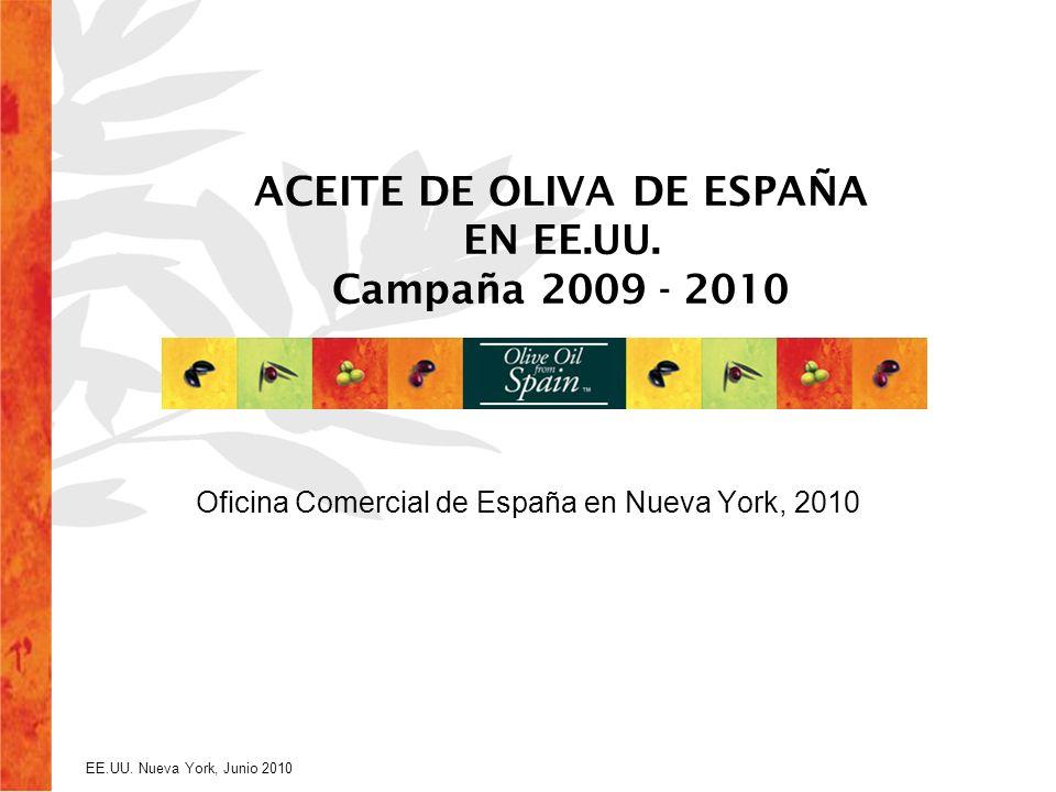 EE.UU. Nueva York, Junio 2010 ACEITE DE OLIVA DE ESPAÑA EN EE.UU. Campaña 2009 - 2010 Oficina Comercial de España en Nueva York, 2010
