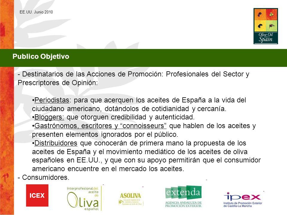 EE.UU. Junio 2010 Publico Objetivo - Destinatarios de las Acciones de Promoción: Profesionales del Sector y Prescriptores de Opinión: Periodistas: par