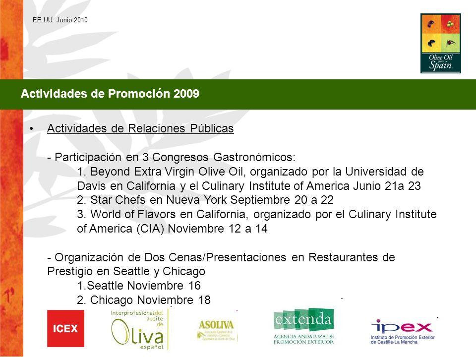 EE.UU. Junio 2010 Actividades de Promoción 2009 Actividades de Relaciones Públicas - Participación en 3 Congresos Gastronómicos: 1. Beyond Extra Virgi