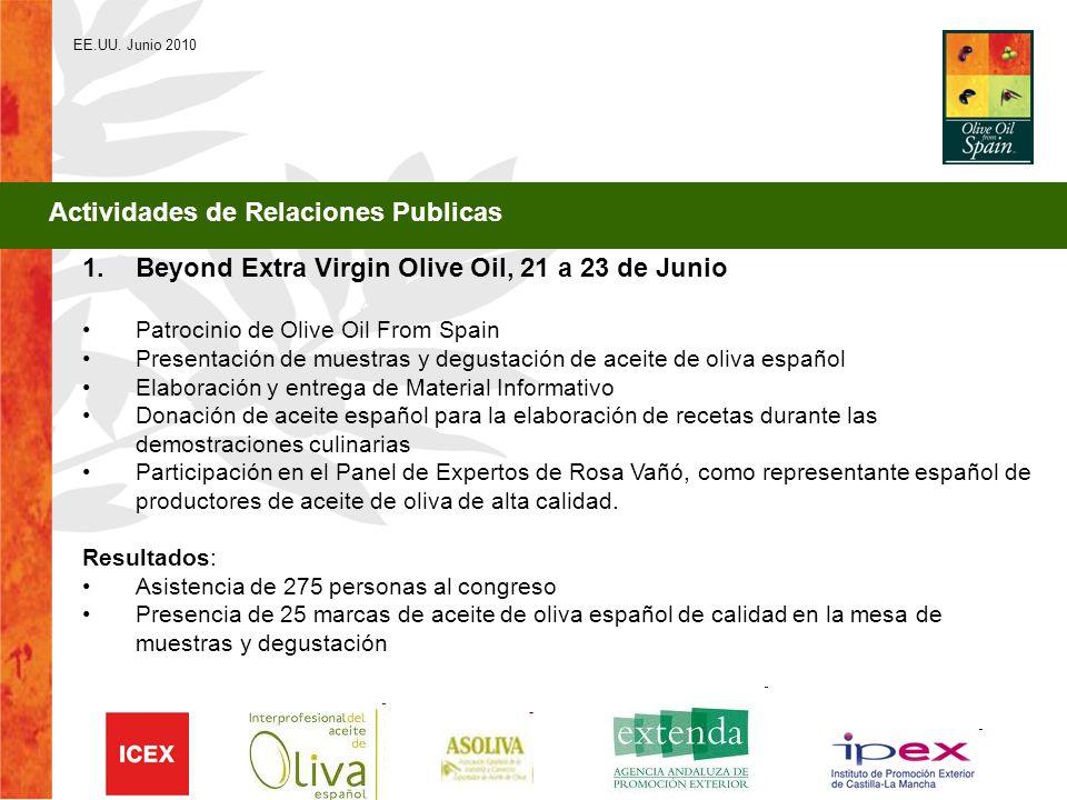 EE.UU. Junio 2010 1.Beyond Extra Virgin Olive Oil, 21 a 23 de Junio Patrocinio de Olive Oil From Spain Presentación de muestras y degustación de aceit