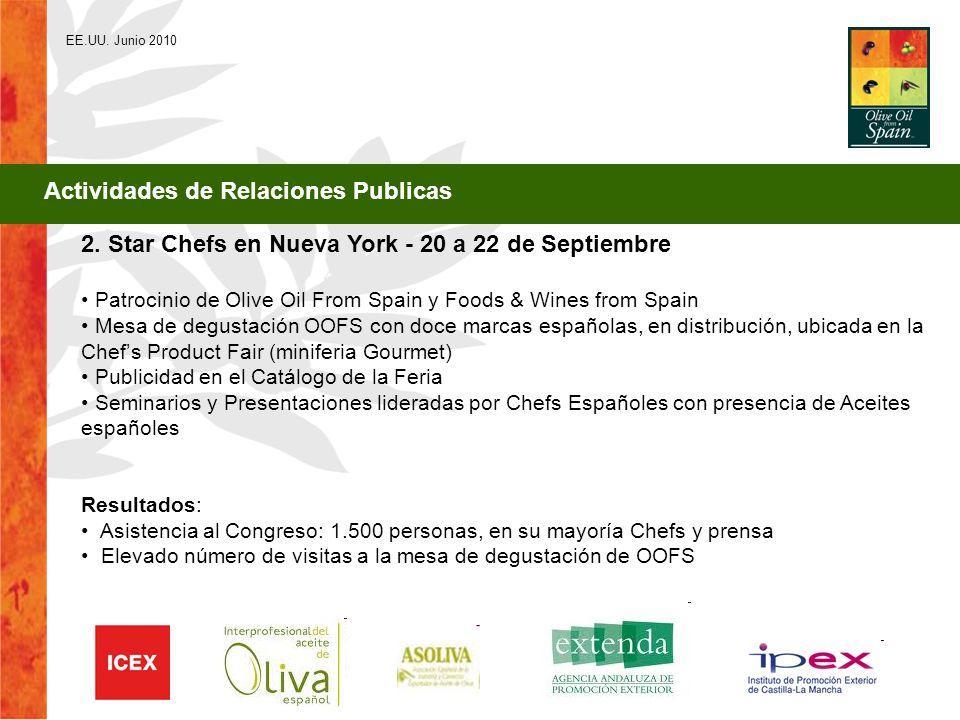 2. Star Chefs en Nueva York - 20 a 22 de Septiembre Patrocinio de Olive Oil From Spain y Foods & Wines from Spain Mesa de degustación OOFS con doce ma