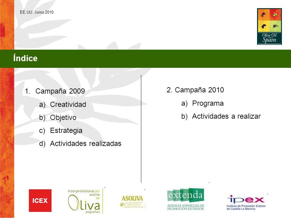 EE.UU. Junio 2010 Índice 1.Campaña 2009 a)Creatividad b)Objetivo c)Estrategia d)Actividades realizadas 2. Campaña 2010 a)Programa b)Actividades a real