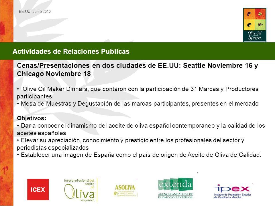 EE.UU. Junio 2010 Actividades de Relaciones Publicas Cenas/Presentaciones en dos ciudades de EE.UU: Seattle Noviembre 16 y Chicago Noviembre 18 Olive